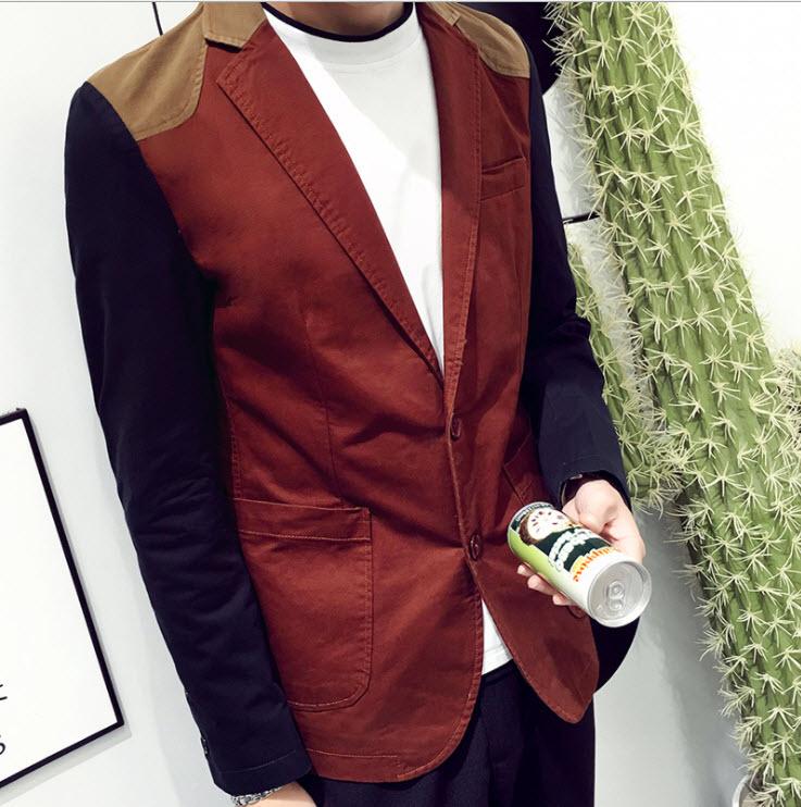 พรีออร์เดอร์ เสื้อสูท ผู้ชาย ลำลอง สีแดง แขนสีน้ำเงิน แขนยาว คอปก แต่งบ่าสีน้ำตาล กระดุม 2 เม็ด