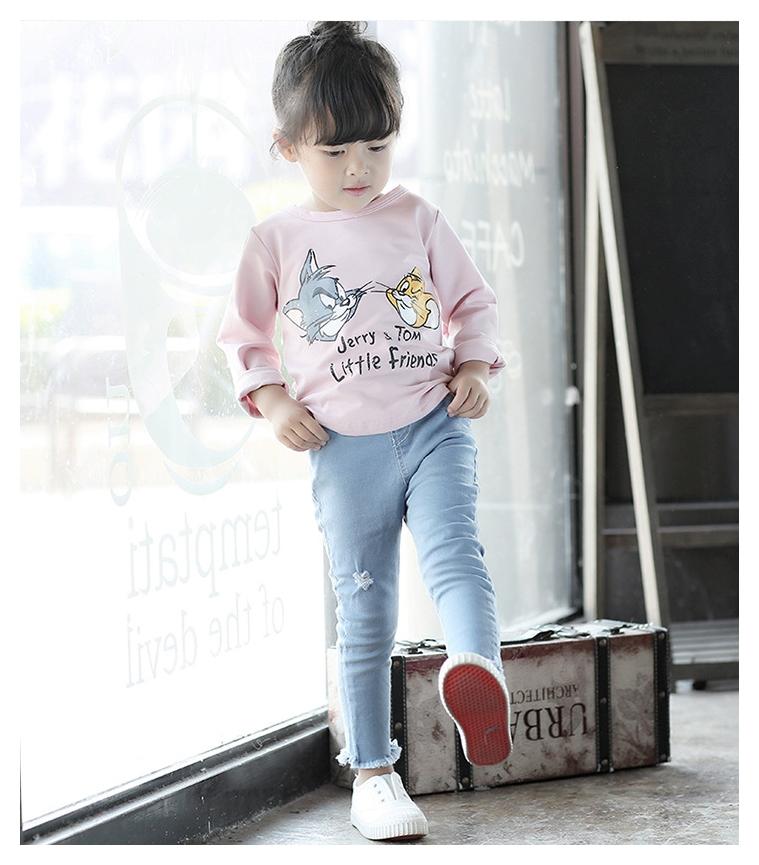 เสื้อแขนยาวสีชมพู สกรีนลาย Tom&Jerry