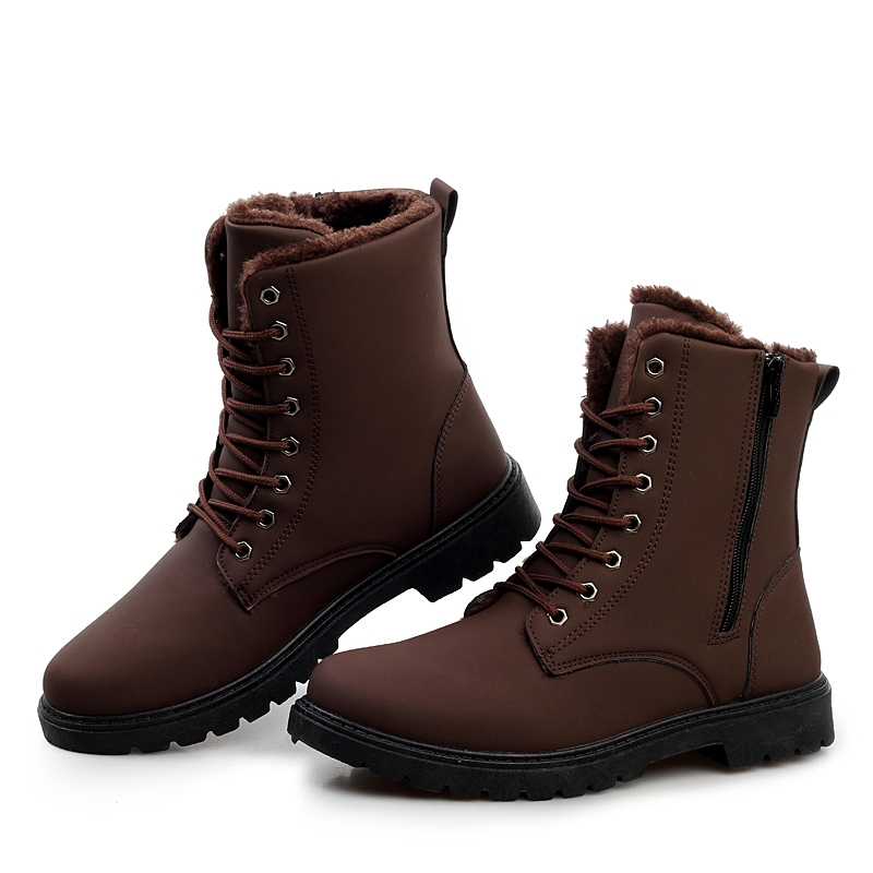 รองเท้าหุ้มข้อผู้ชาย พร้อมส่ง รองเท้าหนัง รองเท้าลุยหิมะ สีน้ำตาลเข้ม แบบผูกเชือก ด้านในบุขนสัตว์