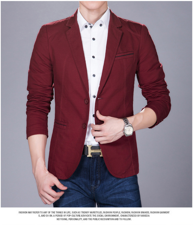 พร้อมส่ง เสื้อสูท ผู้ชาย สีแดง แขนยาว กระดุมหน้า2เม็ด แขนแต่งกระดุม ใส่ทำงาน ใส่ออกงาน ใส่เป็นสูทลำลอง กระเป๋าจริง มีซับใน เสื้อสูทผู้ชาย