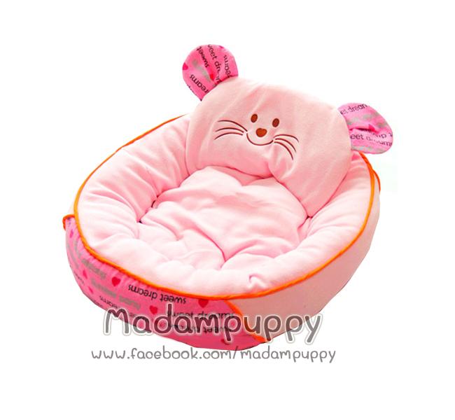 ที่นอนน้องหมา เบาะนอนรูปแมว สีชมพู ไซส์ M