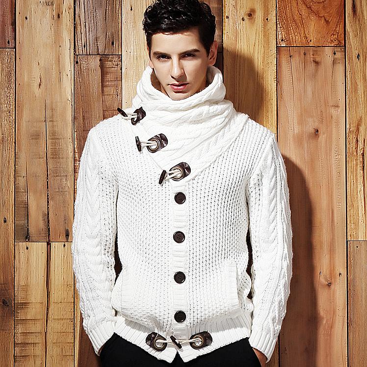 พร้อมส่ง เสื้อไหมพรมผู้ชาย สีขาวครีม ออกแบบเท่ห์ ใส่กันหนาวได้ ใส่คลุม แฟชั่นผุ้ชาย