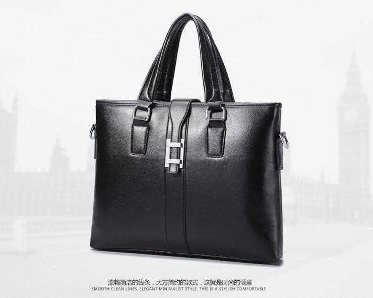 พร้อมส่ง กระเป๋าถือ กระเป๋าหนัง PU สีดำ สะพานไหล่ได้ ถอดสายเป็นกระเป๋าถือได้ ใส่เอกสาร ใส่ของได้เยอะ
