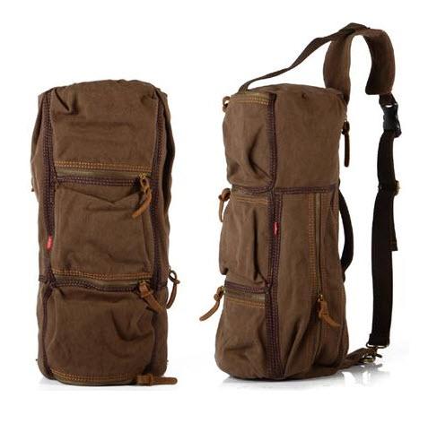 พร้อมส่ง กระเป๋าสะพาย สีกาแฟ ทำด้วยผ้าแคนวาส ออกแบบได้เท่ห์ ไม่ซ้ำใคร จุของได้เยอะ