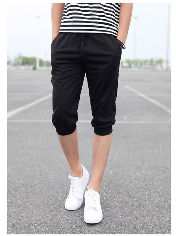 กางเกงวอร์มขา5ส่วน สีดำ ปลายขาจั้ม แฟชั่นผู้ชายสไตล์เกาหลี เทรนฮิตมาใหม่ ใส่เท่ห์ ใส่สบาย ขากางเกงอีกด้านแต่งซิป