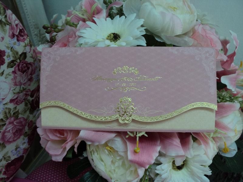 9-0261 การ์ดแต่งงานพับสามตอน สีชมพู
