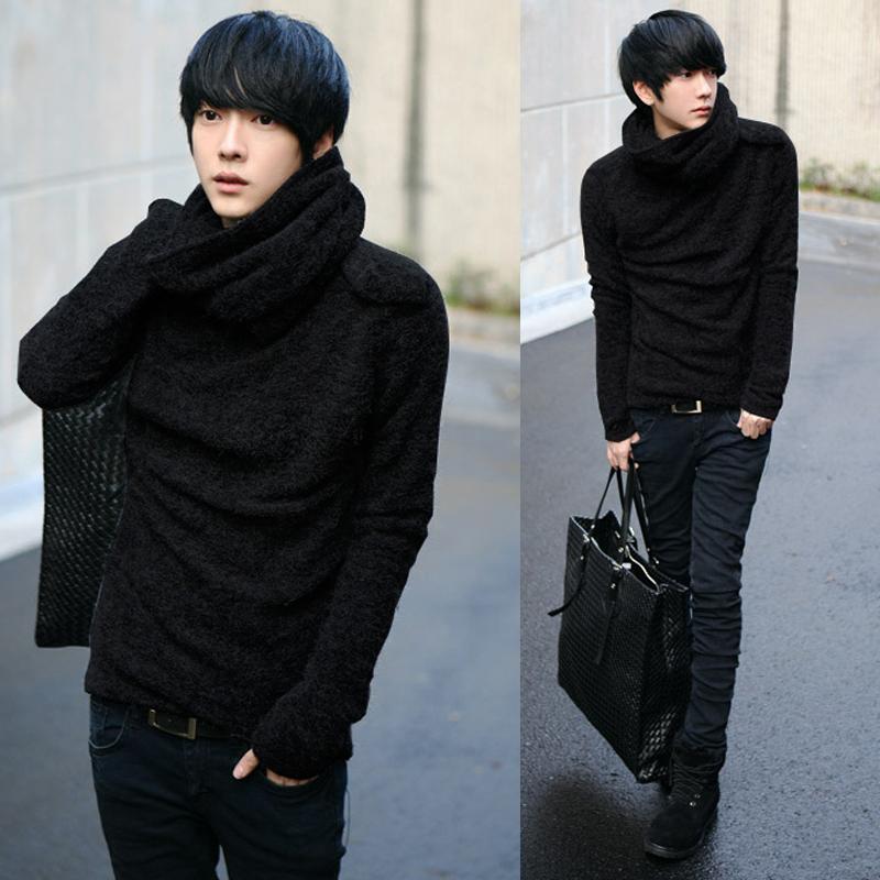 พร้อมส่ง เสื้อกันหนาว สีดำ เสื้อคอเต่า คอย้วย เท่ห์ ใส่กันหนาว เสื้อกันหนาวผู้ชาย
