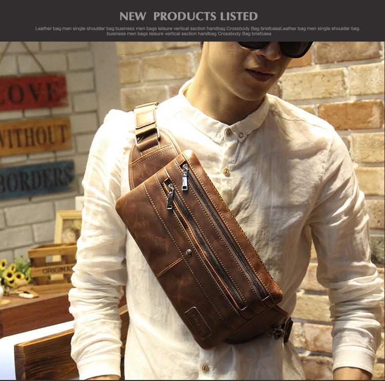 พร้อมส่ง กระเป๋าคาดอก สีน้ำตาล หนังPU ซิป3ช่อง กระเป๋าคาดอกผู้ชาย
