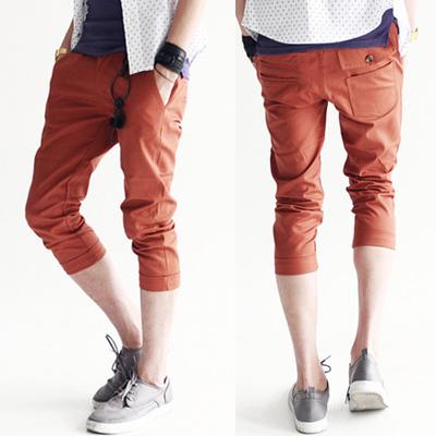 พร้อมส่ง กางเกงผู้ชาย ขา 5 ส่วน สีส้ม