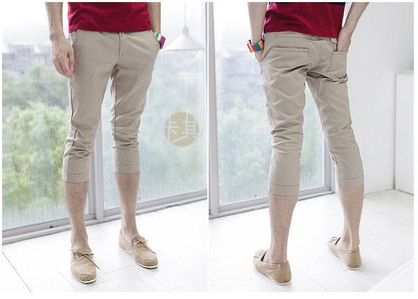 กางเกงผู้ชาย ขา 5 ส่วน สีน้ำตาล กางเกงแฟชั่นสไตล์เกาหลี
