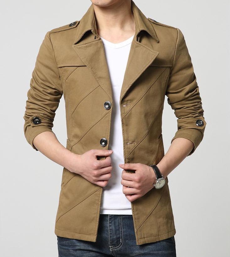พร้อมส่ง เสื้อสูทผู้ชาย สูทลำลอง แขนยาว สีน้ำตาล คอปก ออกแบบเท่ห์ แต่งกระเป๋าหลอก มีซับใน กระดุม 3 เม็ด