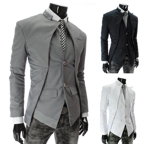 พร้อมส่ง สีเทา เสื้อสูทแฟชั่นผู้ชาย สีเทา กระดุมหน้า 2 เม็ด ออกแบบเก๋ สุดเท่ห์ ไม่เหมือนกัน เสื้อสูทไปงาน หรือใส่ทำงานได้