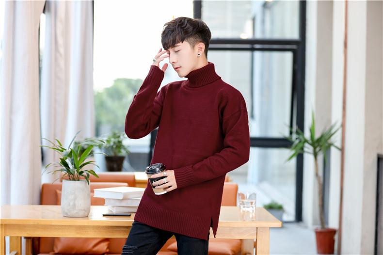 เสื้อไหมพรมผู้ชาย สีแดง คอเต่า แขนยาว ผ่าชายเสื้อ สเวตเตอร์ผู้ชาย ผ้าหนา นุ่ม ยืดหยุ่นได้ดี ใส่กันหนาว ใส่ไปเที่ยวต่างประเทศได้ ใส่เดี่ยวหรือทับด้วยโค้ทอีกที