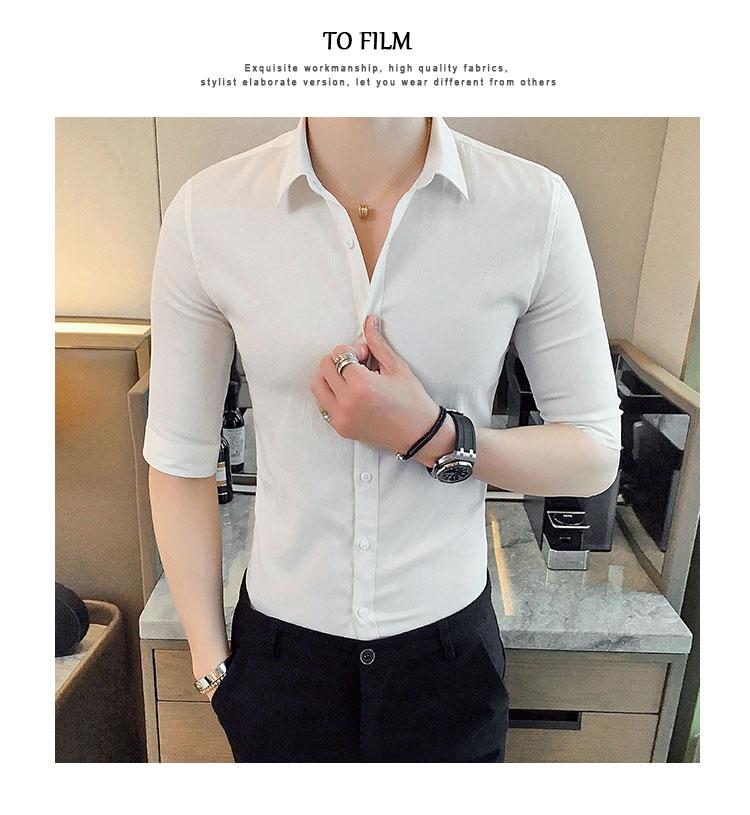 เสื้อเชิ้ตผู้ชาย สีขาว แขนยาว3ส่วน คอปก เนื้อผ้าดี ใส่สบาย เสื้อเชิ้ตใส่ทำงาน เสื้อเซิ้ตแฟชั่นผู้ชาย เสื้อเชิ้ตชาย