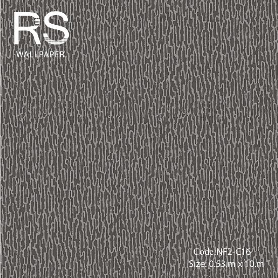 วอลเปเปอร์พื้นสีดำเงาเทกเจอร์โฟมเป็นลายเส้นสีเทาเข้ม NF2-C16