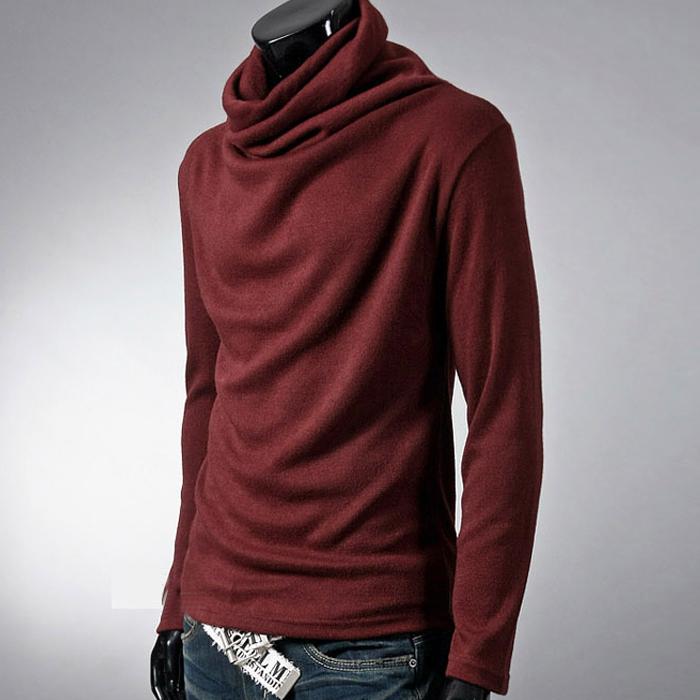 พร้อมส่ง เสื้อคอเต่าผู้ชาย สีแดง ใส่กันหนาว