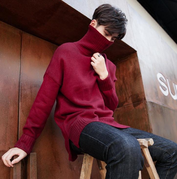 พร้อมส่ง เสื้อไหมพรมผู้ชาย สีแดง คอเต่า ผ่าชายเสื้อ สเวตเตอร์ผู้ชาย ใส่กันหนาว แฟชั่นหน้าหนาวผู้ชาย