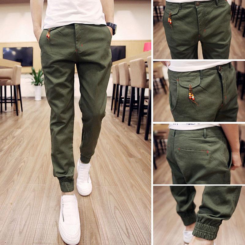 พร้อมส่ง กางเกงขายาว สีเขียว ปลายขาจั้ม กางเกงผู้ชาย