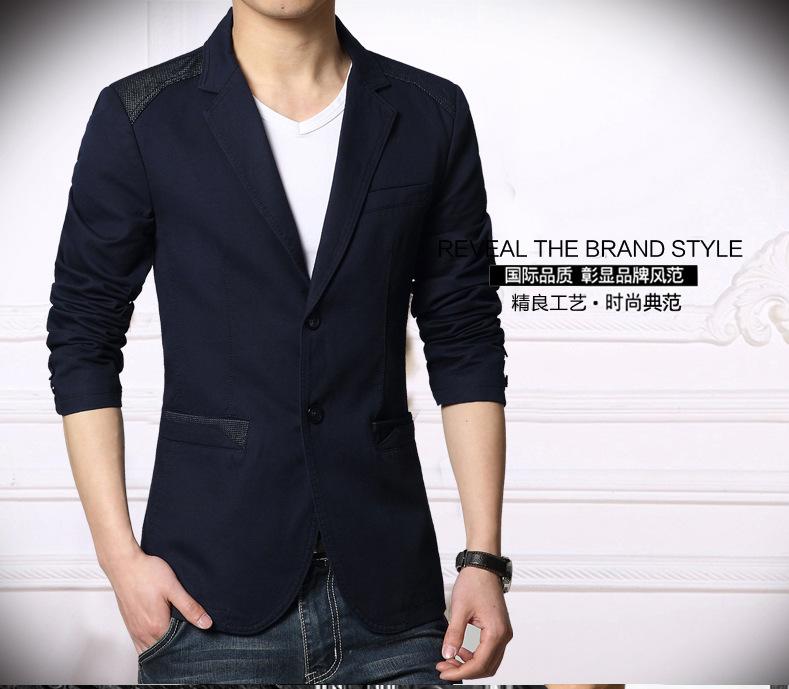 เสื้อสูทผู้ชาย สูทลำลอง สีน้ำเงินกรมท่า คอปก แต่งไหล่และกระเป๋าเสื้อ ออกแบบเท่ห์ แต่งกระเป๋าหลอก มีซับใน กระดุม 2 เม็ด ใส่ทำงาน สูทออกงาน หรือใส่เป็นสูทลำลองได้