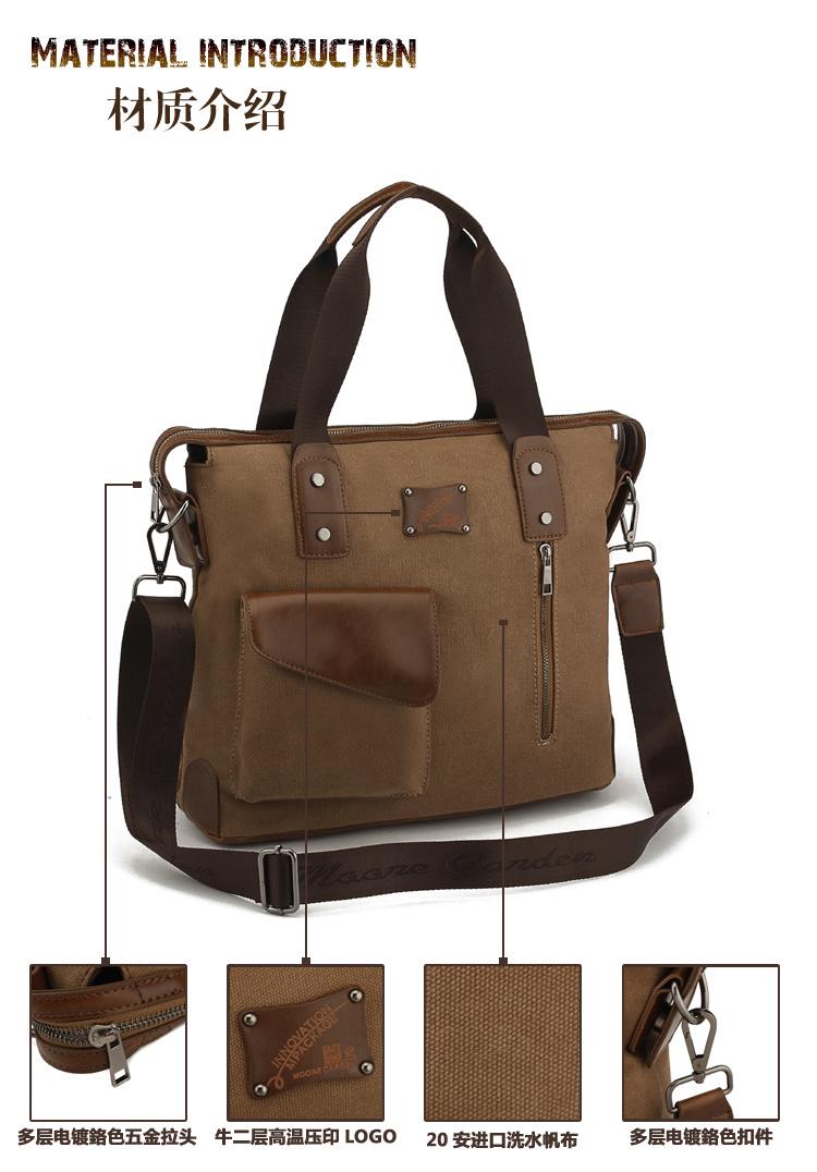 กระเป๋าสะพาย สีน้ำตาล ผ้าแคนวาส ใส่เอกสาร กระเป๋าทำงาน ใส่ของไปเที่ยวสะพายเท่ห์ๆ หรือจะถือก็เท่ห์ มีช่องด้านหน้าใส่ของจุกจิก หรือใส่โทรศัพท์