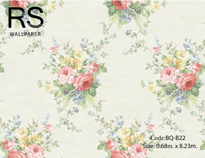 วอลเปเปอร์ลายดอกไม้ช่อวินเทจดอกสีม่วง เหลือง ฟ้าใบสีเขียวเทาเข้มพื้นสีเขียวเทาเงา BQ-B22