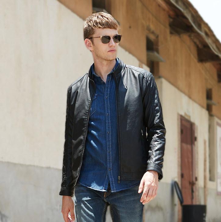 พร้อมส่ง เสื้อหนัง PU เสื้อแจ็คเก็ต สีดำ คอจีน แขนยาว ซิปเต็มตัว แต่งลายตารางช่วงแขน