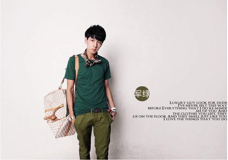 กางเกงผู้ชาย ขา 5 ส่วน สีเขียวเข้ม กางเกงแฟชั่นสไตล์เกาหลี