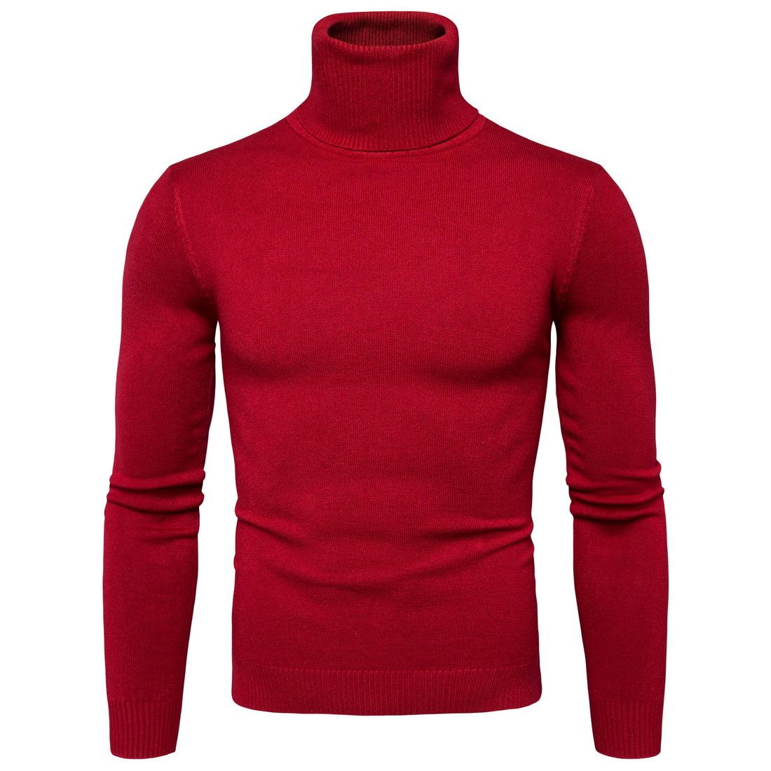พร้อมส่ง เสื้อไหมพรมผู้ชาย สีแดง คอเต่า แขนยาว สเวตเตอร์ผู้ชาย แฟชั่นหน้าหนาว