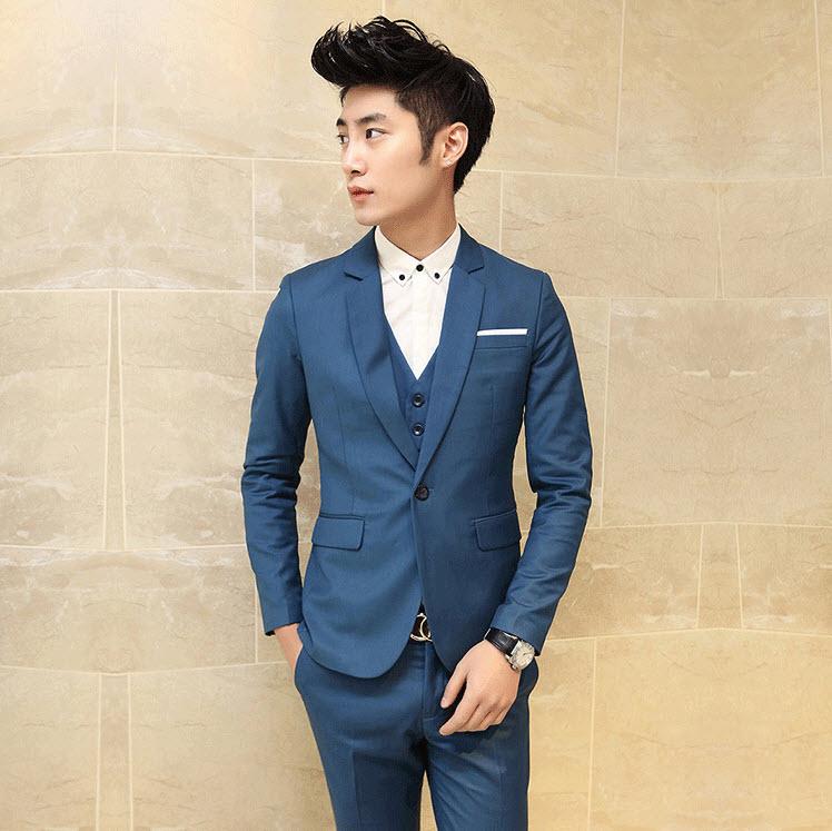 พรีออเดอร์ เสื้อสูท + กางเกง สีน้ำเงินเข้ม เข้าเซ็ท ชุดสูทผู้ชาย ใส่ออกงาน ไปงานเท่ห์มาก
