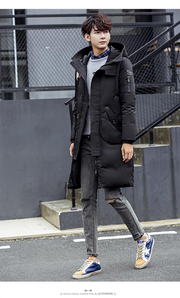 เสื้อโค้ทผู้ชาย โค้ทขนเป็ด สีดำ มีฮู้ด แขนยาว โค้ทยาว ซิปหน้าทับด้วยกระดุมอีก 1 ชั้น มีกระเป๋าข้างใช้งานได้ มีซับใน ใส่กันหนาว ใส่กันลม ใส่กันหิมะ ใส่เที่ยว ใส่ไปต่างประเทศ แบบเท่ห์ เสื้อโค้ทแฟชั่น โค้ทผู้ชายสไตล์เกาหลี