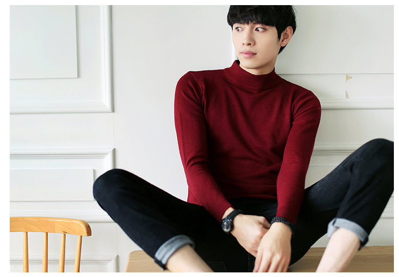 เสื้อไหมพรมผู้ชาย สีแดง คอตั้ง แขนยาว สเวตเตอร์ผู้ชาย ผ้าหนา ยืดหยุ่นได้ดี ใส่กันหนาว ใส่ไปเที่ยวต่างประเทศได้ ใส่เดี่ยวหรือทับด้วยโค้ทอีกที