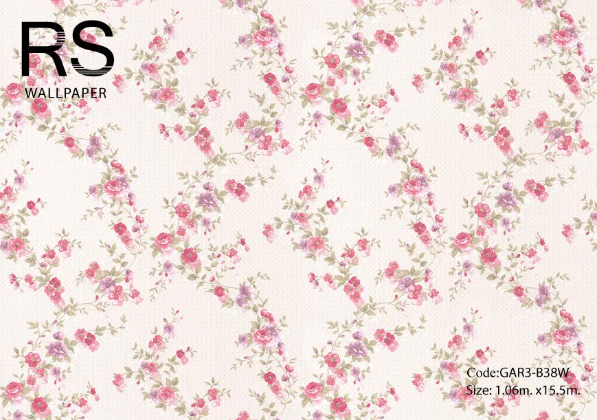 วอลเปเปอร์ลายดอกไม้เลื้อยดอกชมพูม่วงใบเขียวอ่อนพื้นสีครีม GAR3-B38W