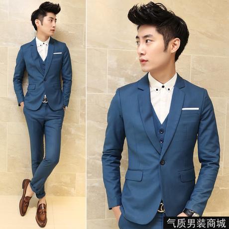 พร้อมส่ง เสื้อสูท + กางเกง สีน้ำเงินเข้ม เข้าเซ็ท ชุดสูทผู้ชาย ใส่ออกงาน ไปงานเท่ห์มาก