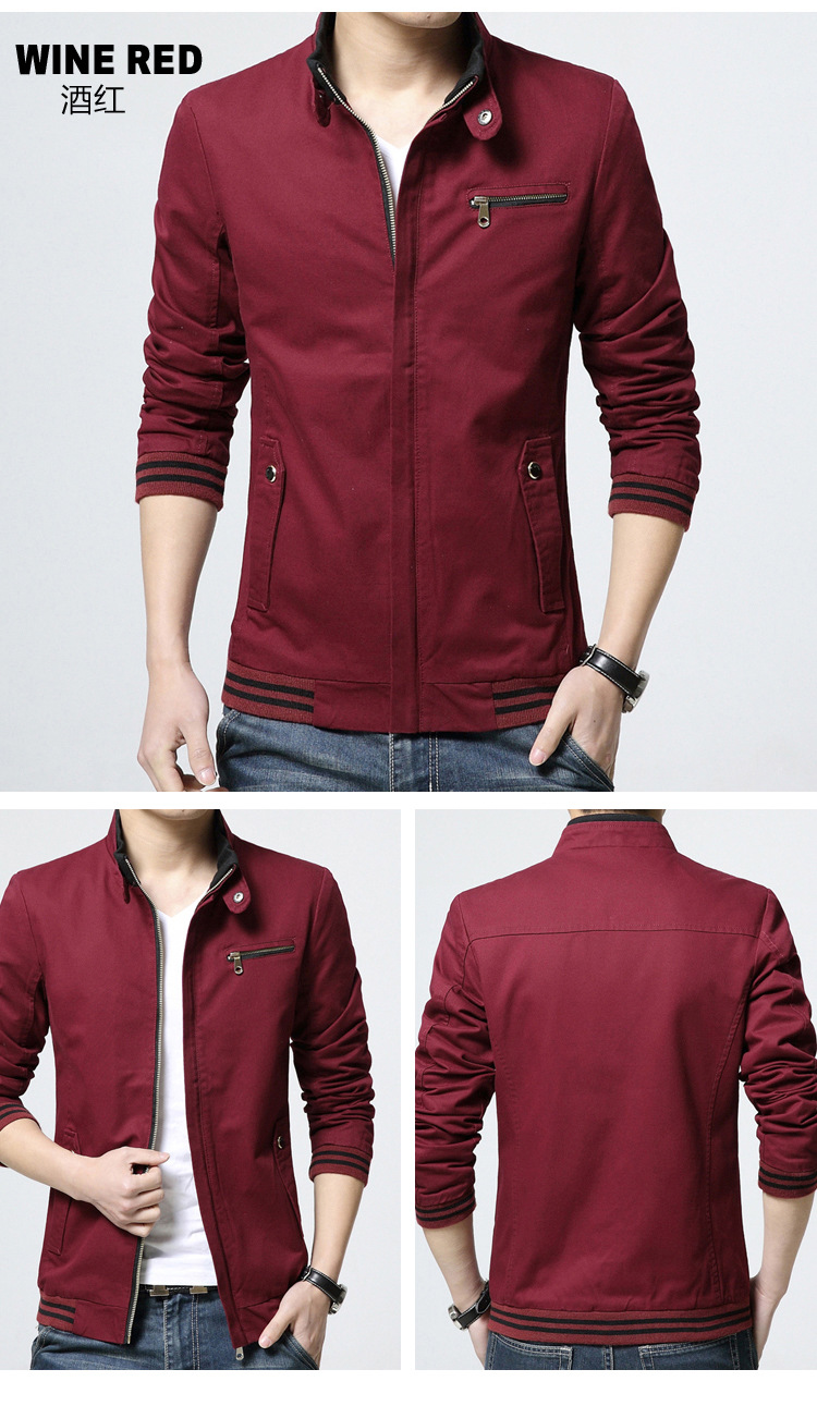 พร้อมส่ง เสื้อแจ็คเก็ต ผู้ชาย สีแดง ซิปหน้า คอจีน กระดุมเป๊ะ ปลายแขนจั้ม กระเป๋าข้างใช้งานได้ ใส่ทำงาน ใส่เที่ยว เสื้อคลุมผู้ชาย