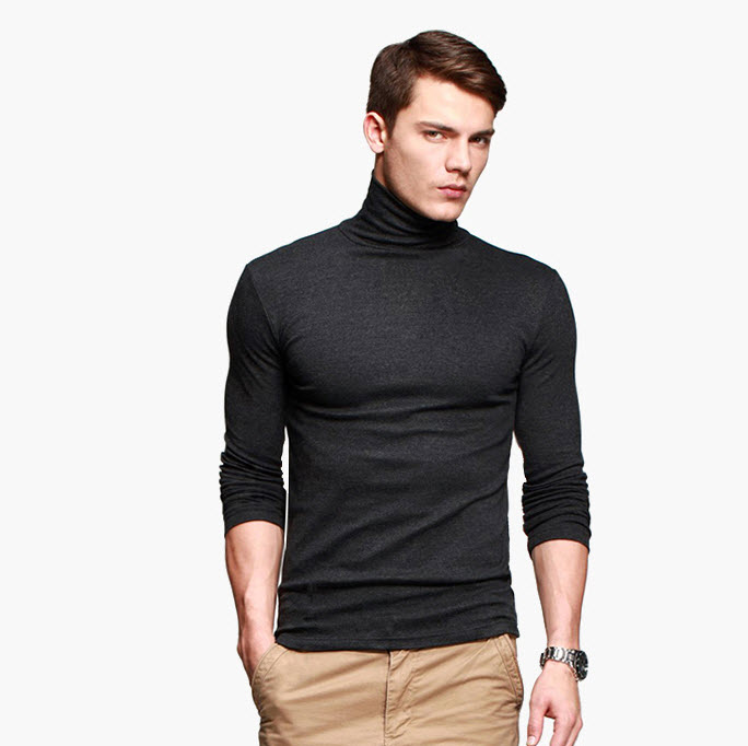 พร้อมส่ง เสื้อคอเต่าผู้ชาย สีเทาดำ แขนยาว ใส่พอดีตัว เสื้อกันหนาว เนื้อผ้าดี ใส่กันหนาวได้
