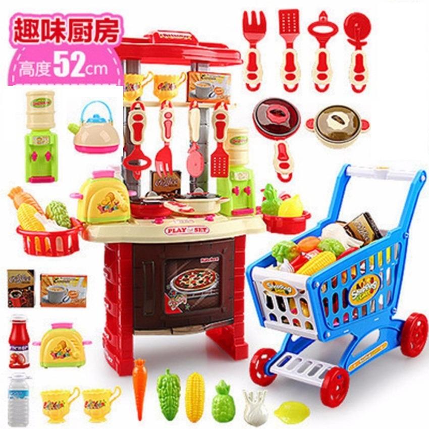 โต๊ะครัว mini kitchecn + shopping cart 2 in 1 อุปกรณ์ 56 ชิ้น ส่งฟรี สีแดง
