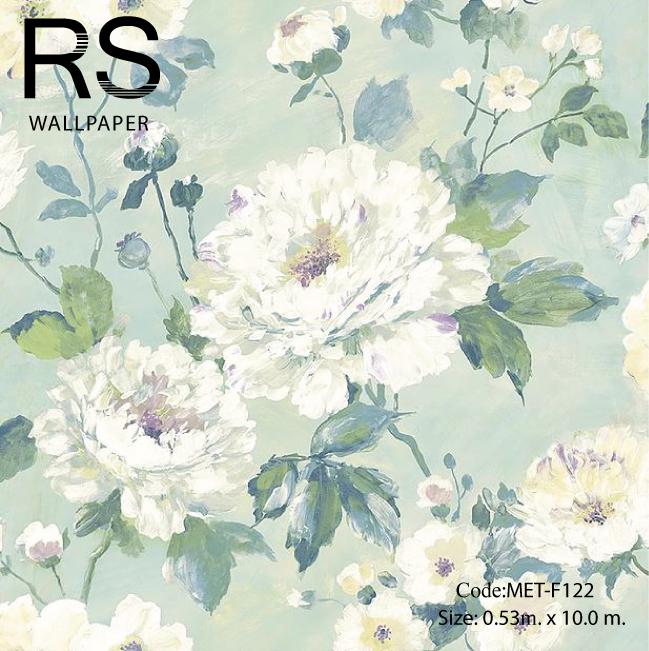 วอลเปเปอร์ลายดอกไม้ภาพวาดโทนสีฟ้าขาว MET-F122
