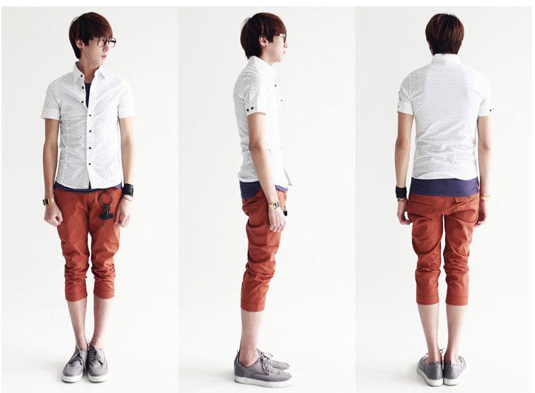 กางเกงผู้ชาย ขา 5 ส่วน สีส้ม กางเกงแฟชั่นสไตล์เกาหลี