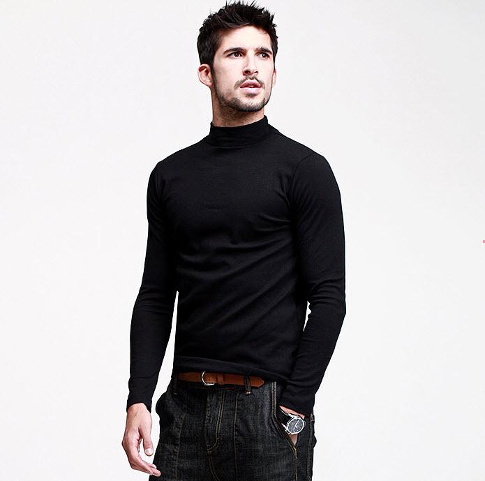 พร้อมส่ง เสื้อคอเต่าผู้ชาย สีดำ แขนยาว เสื้อกันหนาว หรือแมทซ์กับสูทก็เท่ห์