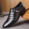 พร้อมส่ง รองเท้าคัชชู ผู้ชาย หนัง PU สีดำ แต่งสายคาด ใส่ทำงาน แบบสวม มีส้น