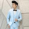พรีออเดอร์ เสื้อสูทผู้ชาย สีฟ้า กระดุม 1 เม็ด แต่งขอบกระเป๋าสีขาว งานเกรดพรีเมี่ยม