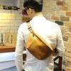 พร้อมส่ง กระเป๋าคาดอก สีน้ำตาลเหลือง หนังPU คาดอก กระเป๋าผู้ชาย
