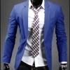 เสื้อสูทแฟชั่นผู้ชาย พร้อมส่ง สูท สีน้ำเงิน คอปก กระดุมเม็ดเดียว แขนยาว