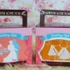 PB043กระเป๋าสปันคละสี ใส่กล่องหูหิ้วน้ำตาล+สติกเกอร์ชื่อ