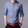 พร้อมส่ง เสื้อเซิ้ตผู้ชาย สีน้ำเงิน คอจีน แต่สีขาวที่ขอบคอเสื้อ และกระเป๋า แขนยาว เสื้อเซิ้ตแขนยาว