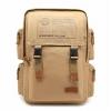 กระเป๋าเป้ ทรงสี่เหลี่ยม พร้อมส่ง กระเป๋าผ้าแคนวาส สีน้ำตาลอ่อน ใส่โน้ตบุคได้ จุของได้เยอะ มีช่องเก็บของด้านข้าง สายปรับได้
