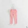 กางเกงขายาวผ้ายืดสีชมพู มีระบายลูกไม้ที่ปลายขา