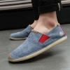 พร้อมส่ง รองเท้าผ้าใบ ผู้ชาย สีฟ้า แต่งหัวรองเท้าด้วยหนัง เบา ใส่สบาย ใส่เที่ยว รองเท้าผู้ชาย