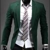 พร้อมส่ง เสื้อสูทผู้ชาย เสื้อสูทลำลอง สีเขียว คอปก กระดุมเม็ดเดียว แขนยาว