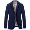 พร้อมส่ง เสื้อสูท ผู้ชาย สีน้ำเงิน คอปก มาพร้อมเข็มกลัดนก แขนยาว ใส่ทำงาน ใส่ออกงาน หรือใส่ลำลองได้